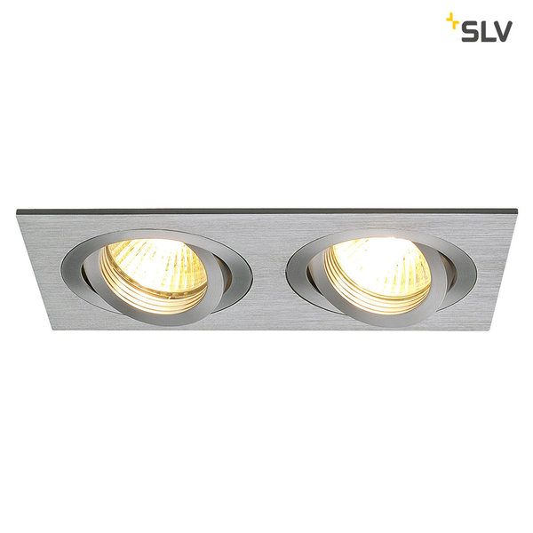 SLV NEW TRIA II GU10 Downlight, rechteckig, alu brushed, max. 2x50W, inkl. Clipfedern 111362