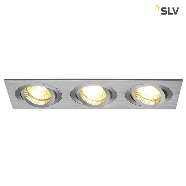 SLV NEW TRIA III GU10 Downlight, rechteckig, alu brushed, max. 3x50W, inkl. Clipfedern 111363
