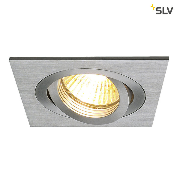 SLV NEW TRIA I GU10 Downlight, eckig, alu brushed, max. 50W, inkl. Clipfedern 111361